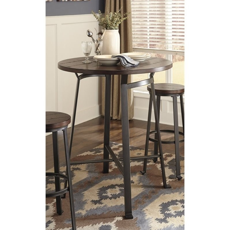 ashley furniture kitchen table and chairs swedish high chair challiman round bar height dining in rustic brown - d307-12