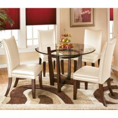 Ashley Furniture Kitchen Tables White Leather Bar Stools Charrell 5 Piece Glass Round Dining Set In Ivory ...