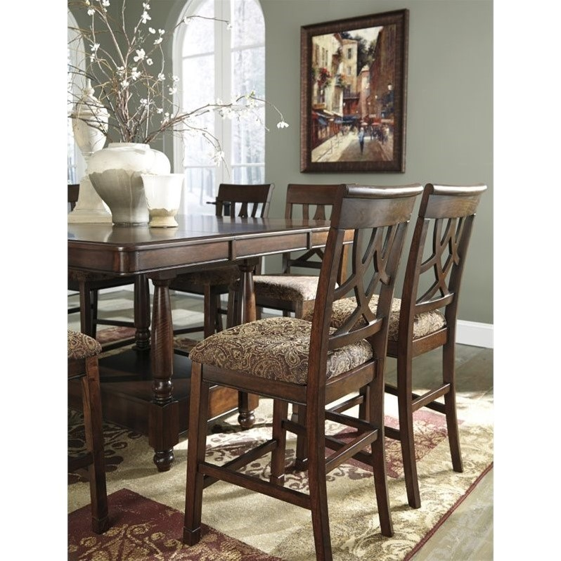 upholstered counter height chairs chair covers pottery barn ashley leahlyn 9 piece extendable dining set in brown - d436-32-124x8-pkg