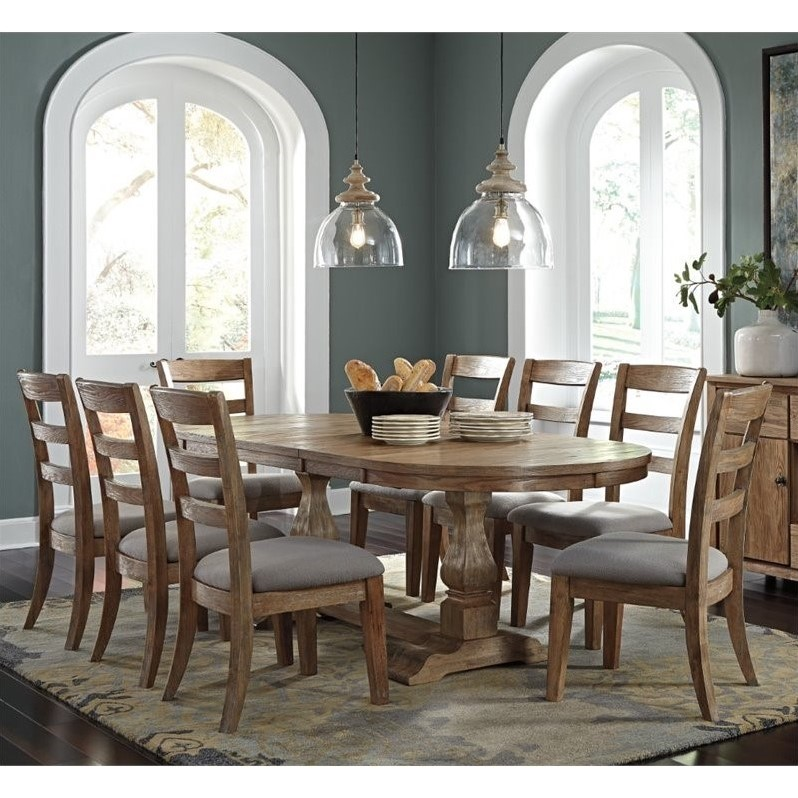 Ashley Danimore 9 Piece Oval Butterfly Dining Set In Light