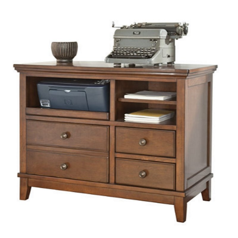 Ashley Burkesville Home Office Cabinet in Medium Brown