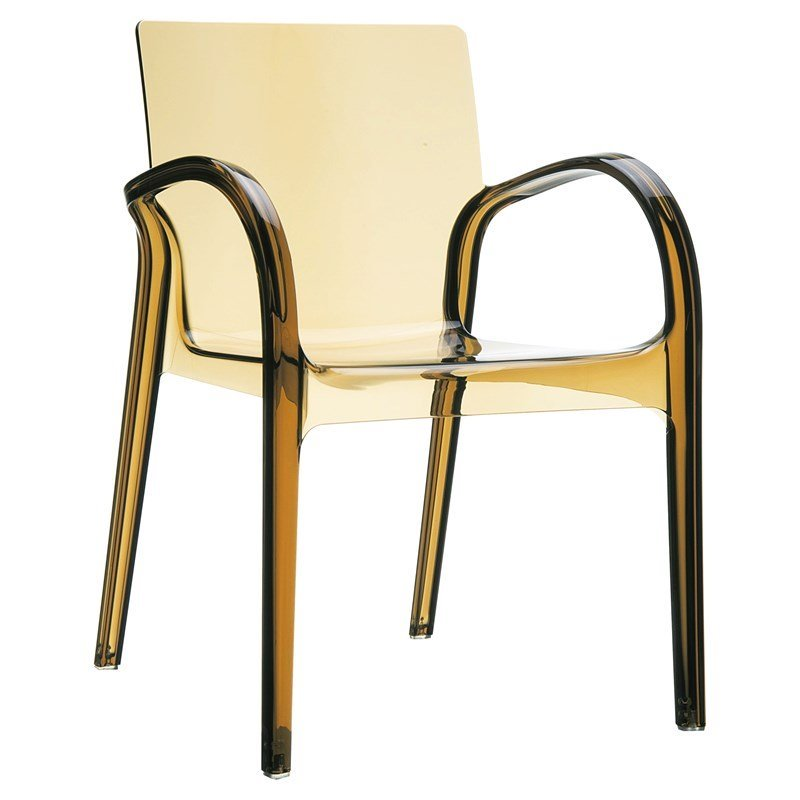 transparent polycarbonate chairs all steel compamia dejavu patio dining chair in amber isp032 tamb