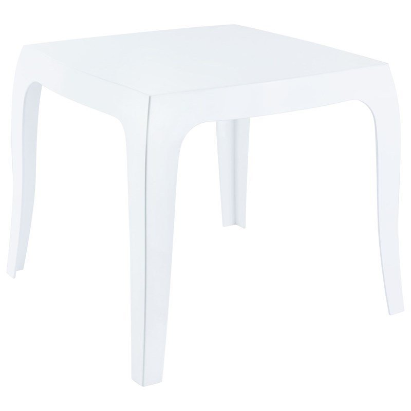 compamia queen polycarbonate patio side table in glossy white