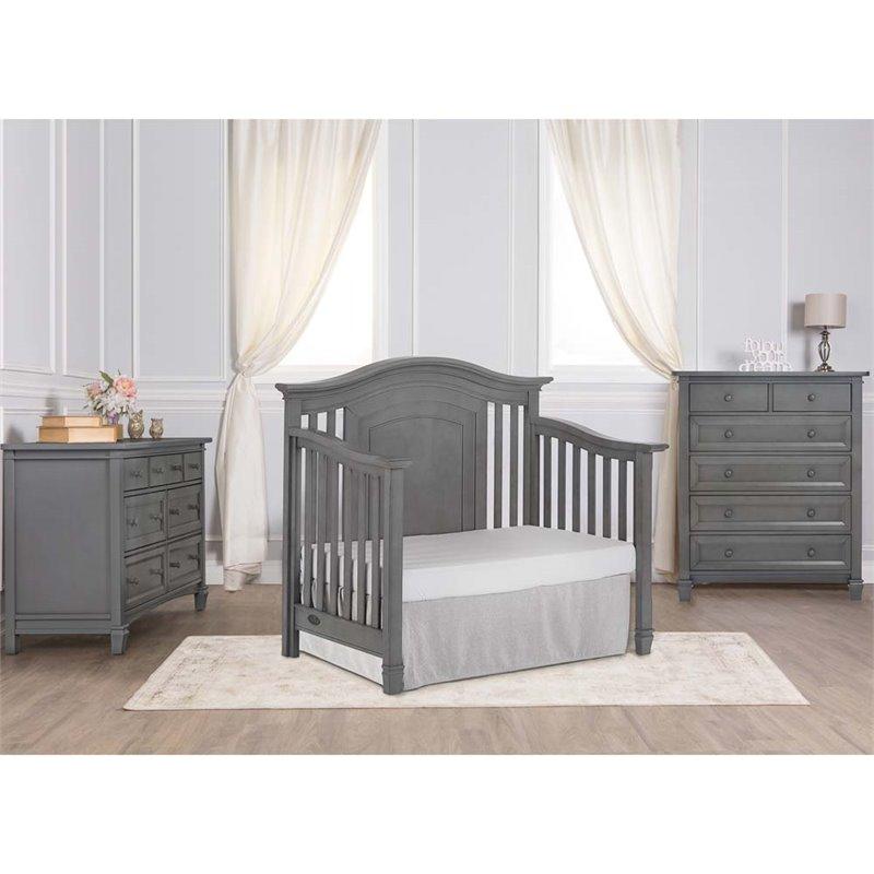 Evolur Fairbanks 5 In 1 Convertible Crib In Storm Gray 821 SGY