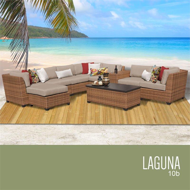 tk classics laguna 10 piece wicker patio sectional set in tan