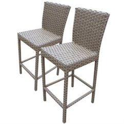 Outdoor Bar Chairs Black Office Chair No Wheels Stools Cymax Stores Tkc Oasis 30 Patio Stool In Gray Stone Set Of 2
