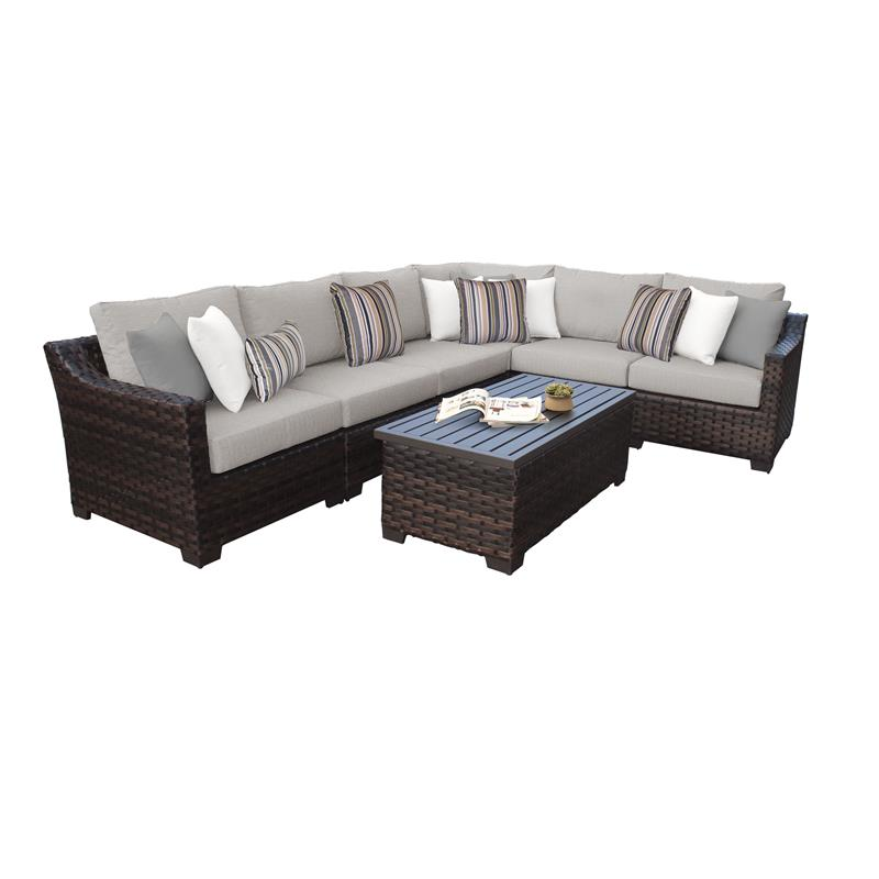 kathy ireland river brook 7 piece outdoor wicker patio furniture set 07b