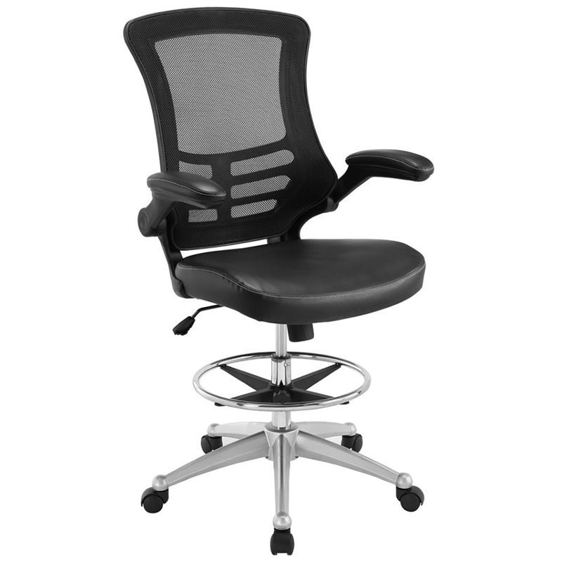mesh drafting chair covers rentals online modway attainment stool in black eei 1422 blk