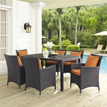 Modway Convene 7 Piece Patio Dining Set In Espresso And