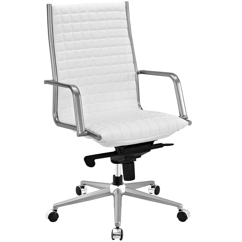 white leather swivel desk chair folding chairs bulk modway pattern high back faux office in eei 2122 whi
