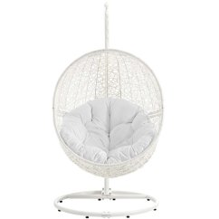 Hanging Chair Stand White And Ottoman Slipcover Set Modway Hide Patio Swing With In Eei 2273 Whi