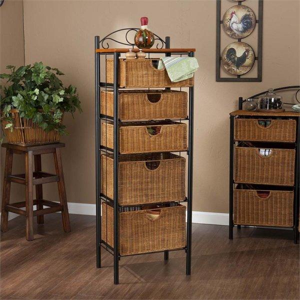 Wicker Basket Storage Unit with Drawers