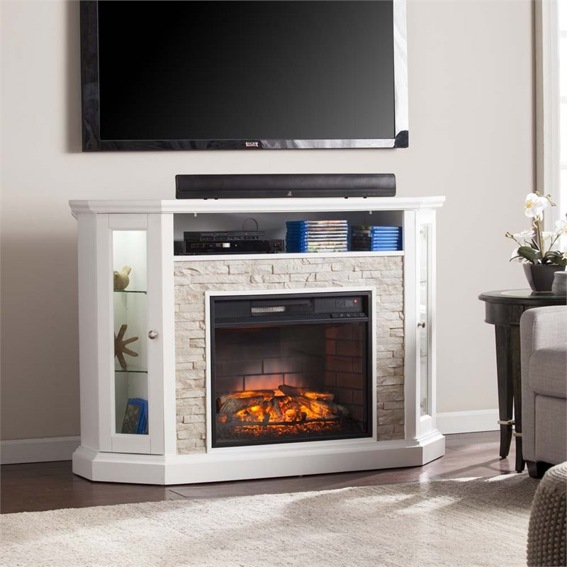 Southern Enterprises Redden Corner Electric Fireplace TV