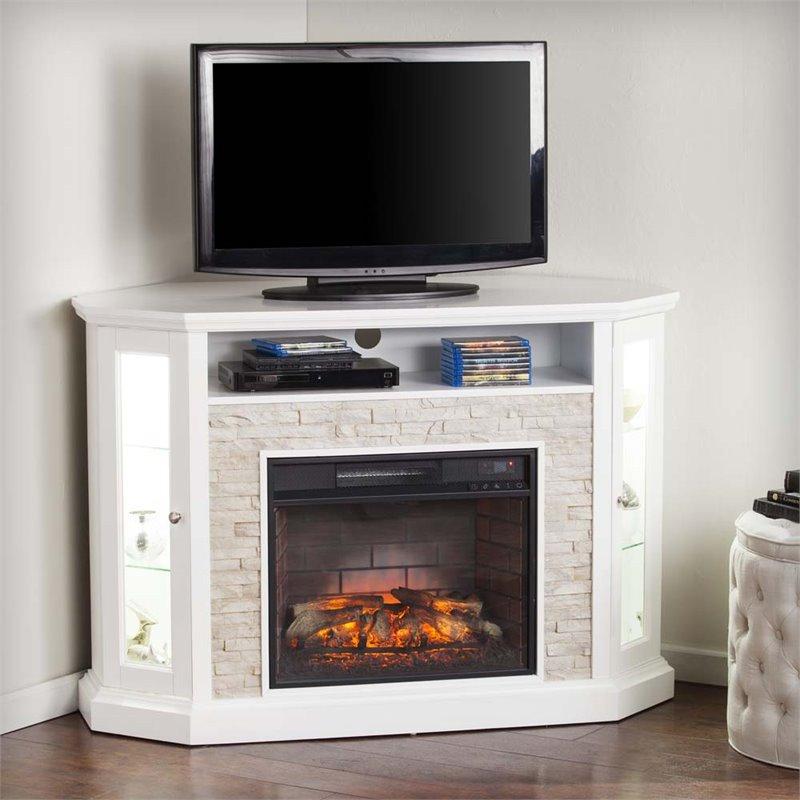 Southern Enterprises Redden Corner Electric Fireplace TV Stand  FI9393