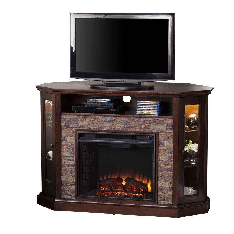 Southern Enterprises Redden Corner Electric Fireplace TV Stand FE9392