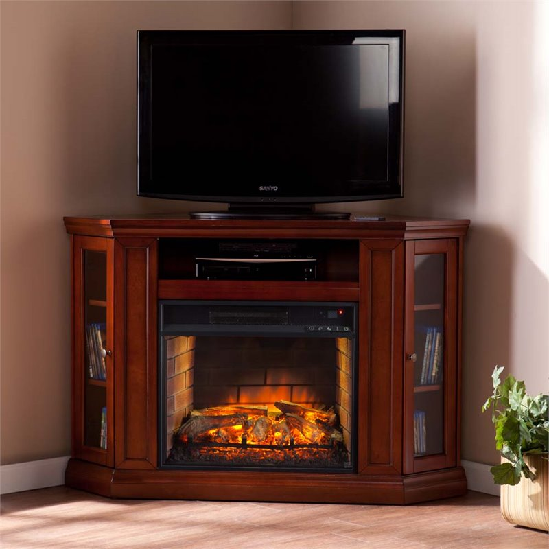 Southern Enterprises Claremont Corner Fireplace TV Stand in Mahogany  FI9316