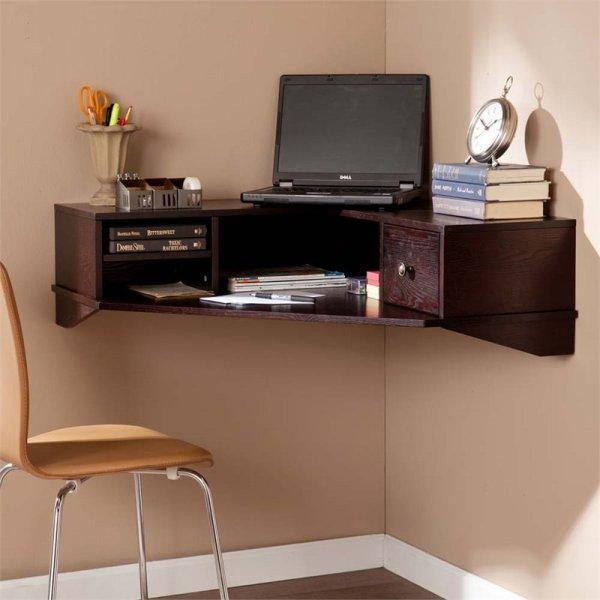 Southern Enterprises Rymark Corner Wall Mount Desk In