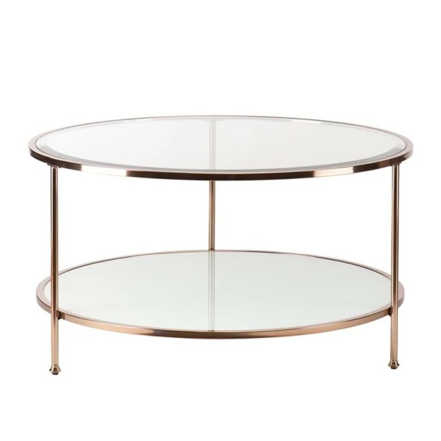 southern enterprises risa round glass top coffee table in gold - ck0430