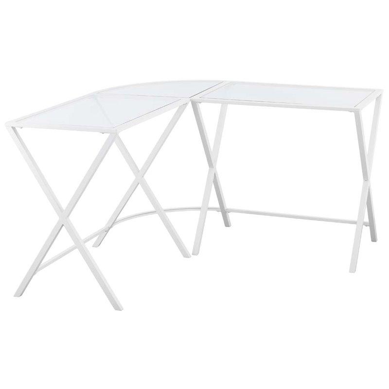 Southern Enterprises Aaron Glass Top L Shaped Writing Desk