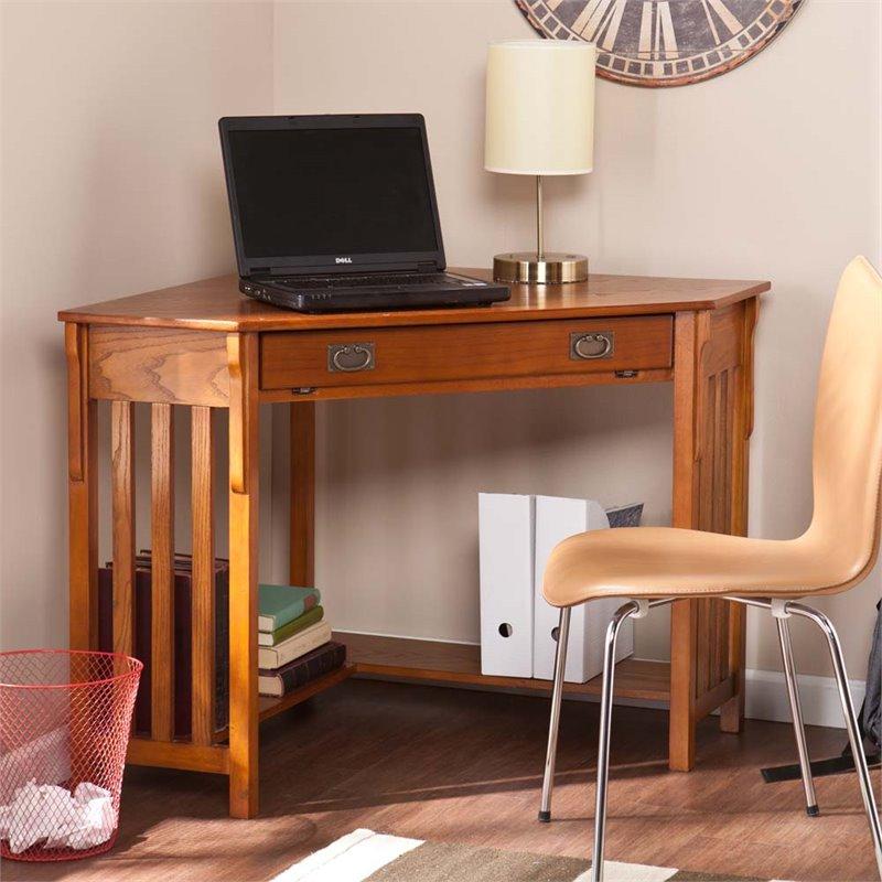 Southern Enterprises Corner Computer Desk in Mission Oak