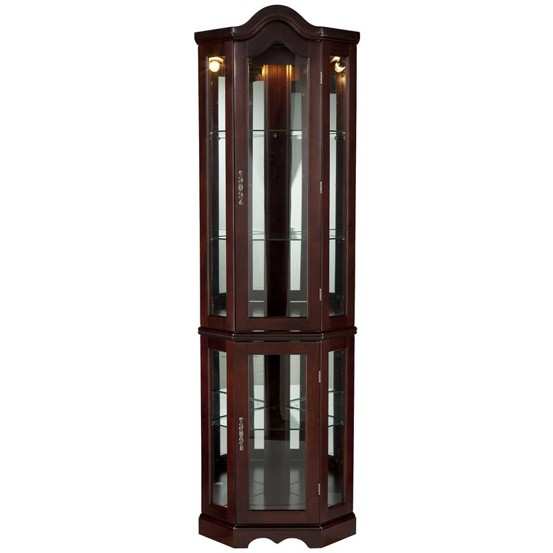 Southern Enterprises Mahogany Lighted Corner Curio Cabinet