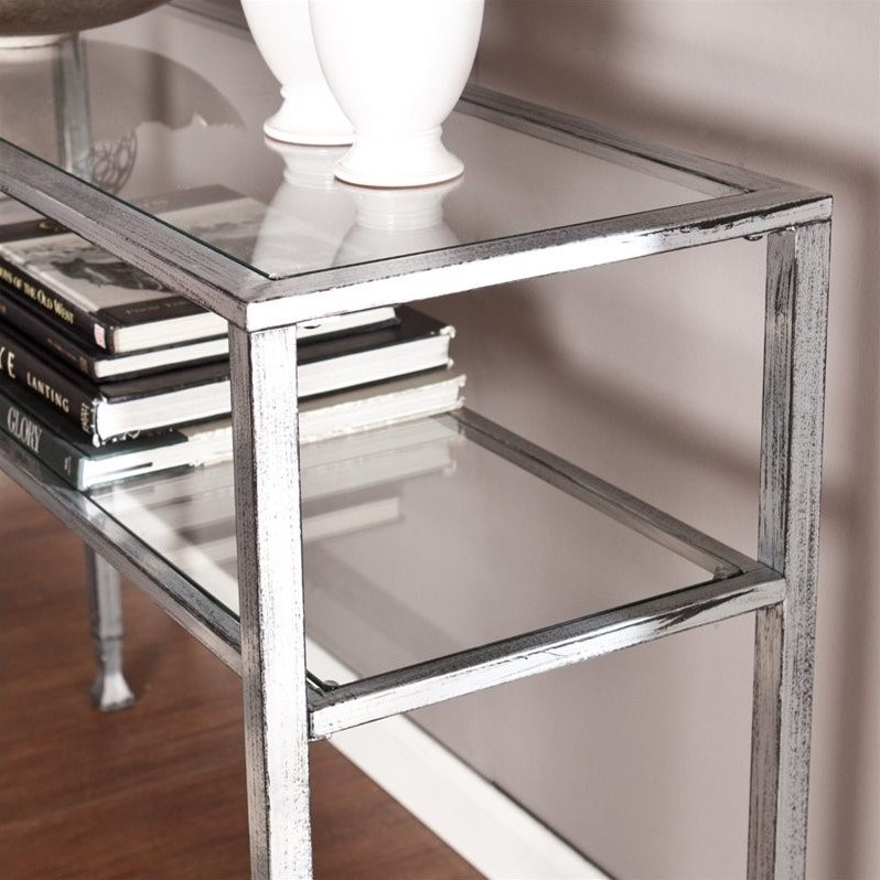 Southern Enterprises Metal Glass Console Table In Silver And Black CK0773