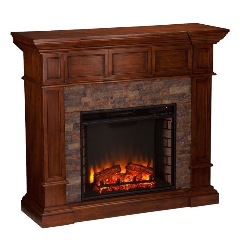 Southern Enterprises Merrimack Faux Stone Electric Fireplace in Oak  FE9637