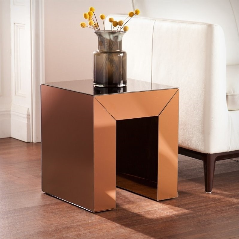 Southern Enterprises Schiaparelli Mirrored Accent Table in