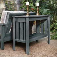 CR Plastic Stratford Patio Console Table in Slate Gray