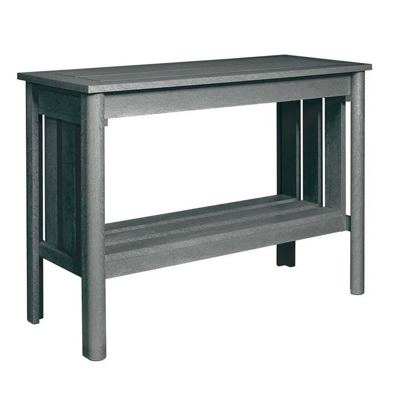 CR Plastic Stratford Patio Console Table in Slate Gray