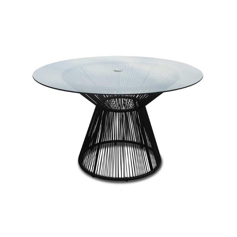harmonia living acapulco round patio dining table in jet black