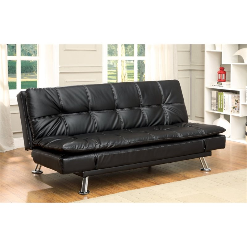 furniture of america halston tufted faux leather sleeper sofa bed in black