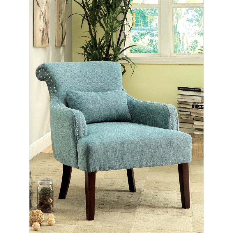 Furniture of America Gabe Upholstered Accent Chair in Blue