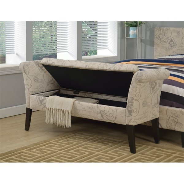 Furniture of America Arronia Upholstered Storage Bench in ...