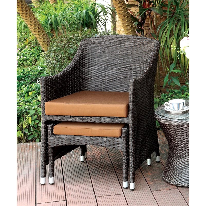 resin wicker chair with ottoman best power lift reviews furniture of america matson patio arm idf ot2550 ac