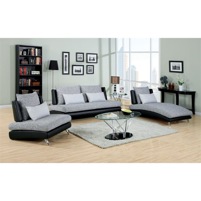justin ii fabric reclining sectional sofa brown leather repair kit furniture of america 3 piece set in black and gray idf 6111 3pc