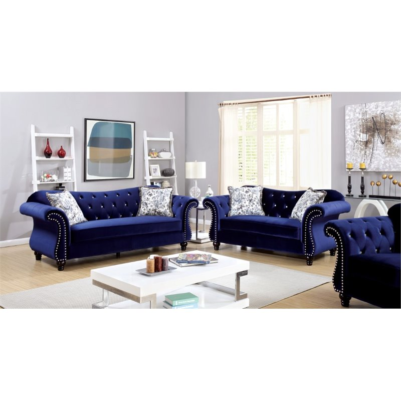 tufted sofa set black leather sectional sleeper furniture of america sharon 3 piece in ...