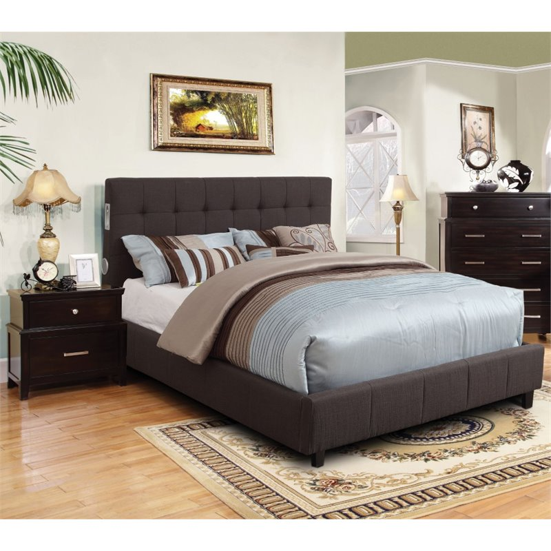 Furniture of America Janata 2 Piece California King Bedroom Set  IDF7060GYCK2PC