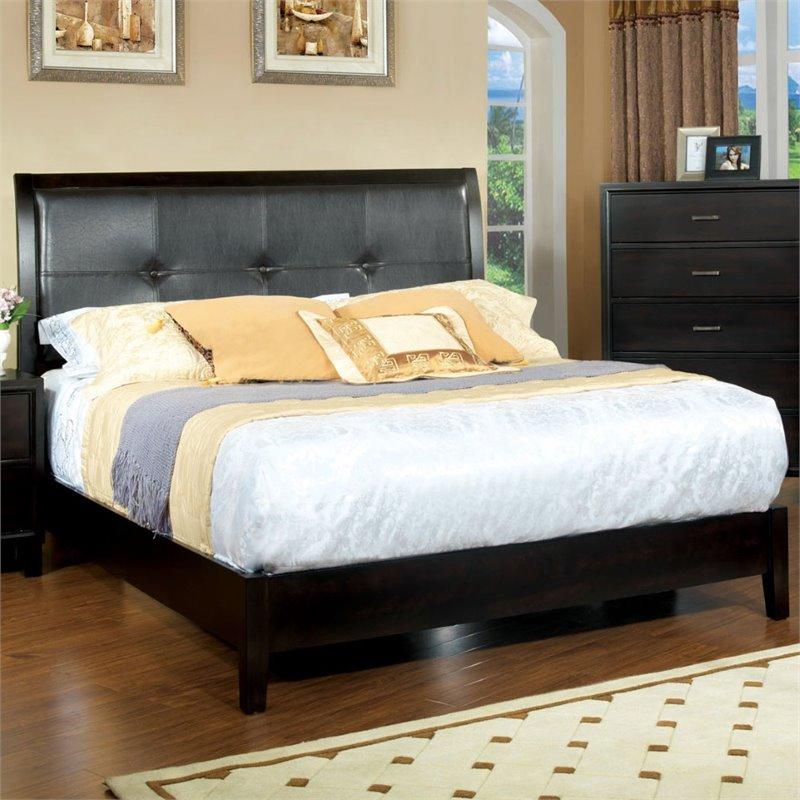 furniture of america denijs contemporary espresso platform bed cal king
