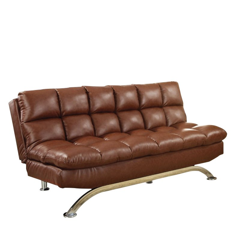 Furniture of America Moore Faux Leather Sofa Bed in Reddish Brown 889435376740  eBay