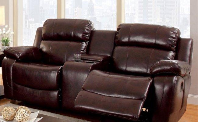 Furniture Of America Calcett Leather Reclining Loveseat In