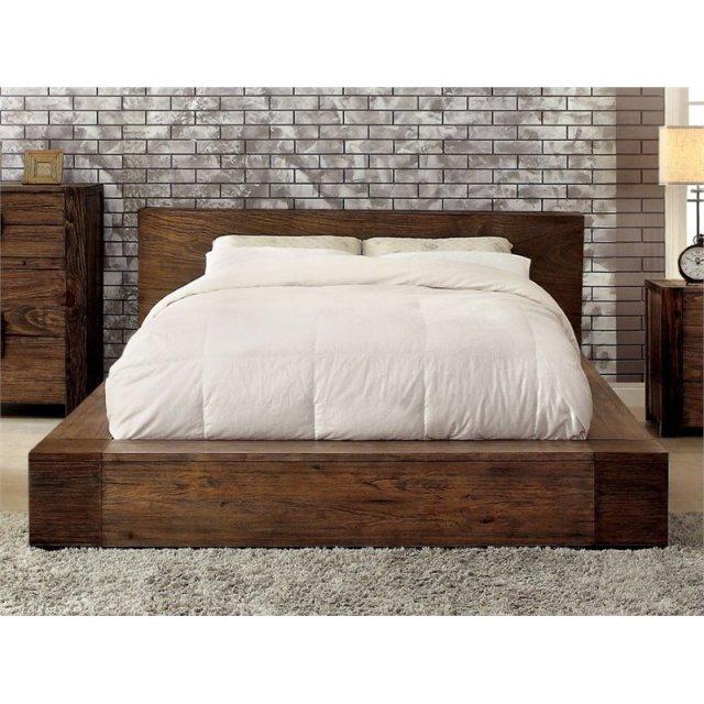 Furniture Of America Elbert Queen Platform Bed In Rustic Natural Idf 7628q