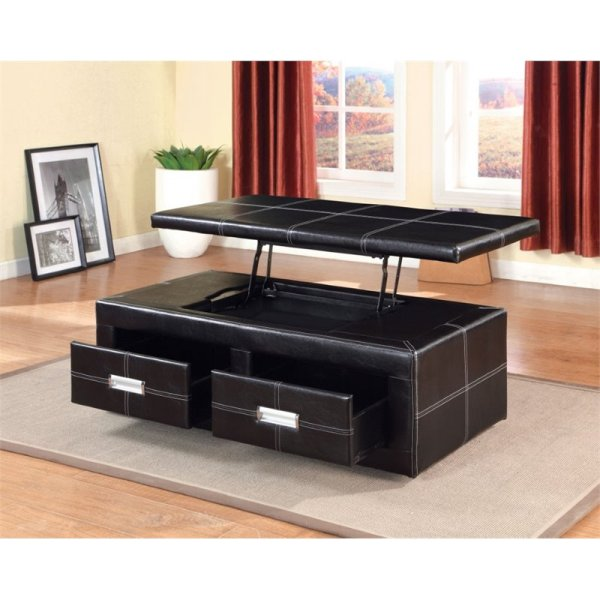 Furniture of America Mullan Leather Lift Top Storage Bench ...