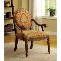 Fabric Accent Chairs Living Room Wood Burner Ideas Furniture Of America Lucas Chair In Antique Oak Idf Ac6024