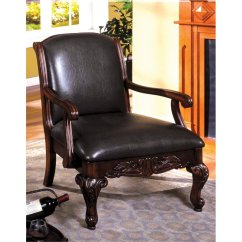 Leather Accent Chairs Office Chair Second Hand Furniture Of America Giles In Dark Cherry Idf Ac6177