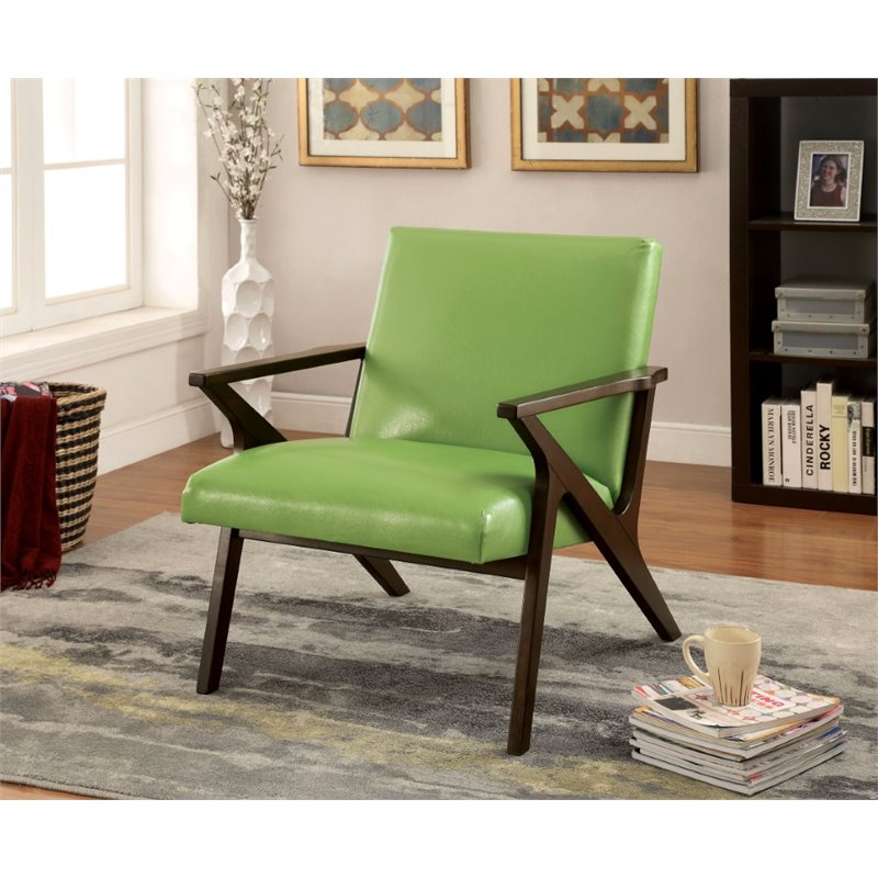Furniture of America Conroy Faux Leather Accent Chair in
