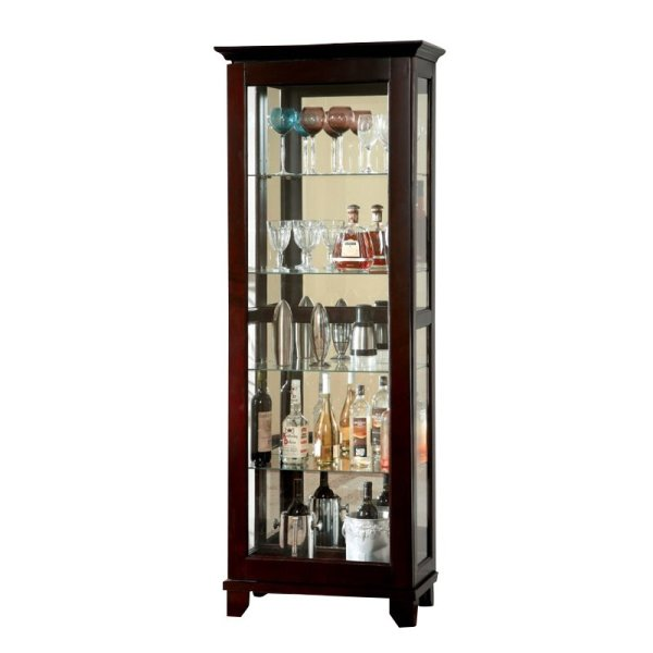 Dark Walnut Curio 5-Shelf Cabinet Furniture in Phillip of America