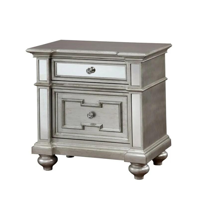 furniture of america farrah 2 drawer wood nightstand in silver
