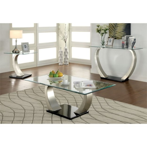 furniture of america navarre 3 piece coffee table set in satin
