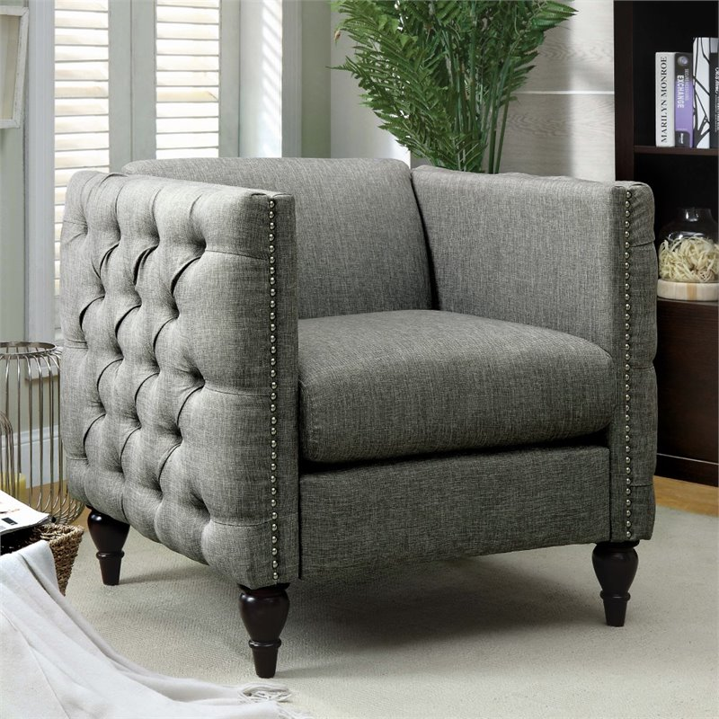 tufted accent chairs chair covers dunelm mill furniture of america bently in gray idf 6780gy ch